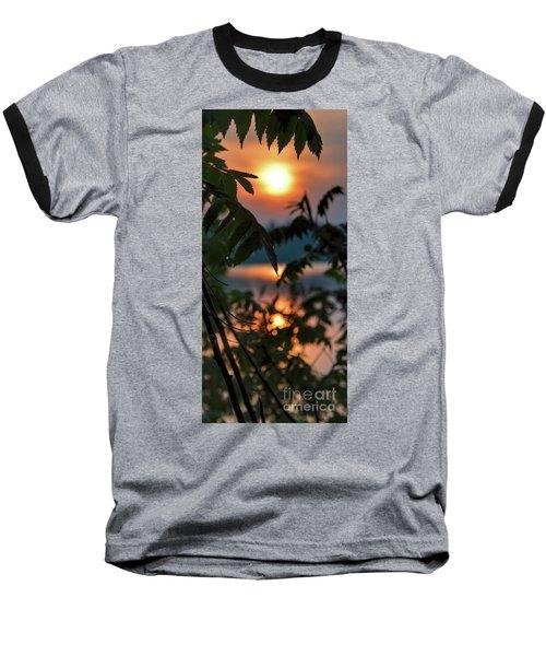 Sumac Sunrise At The Lake Baseball T-Shirt by Henry Kowalski