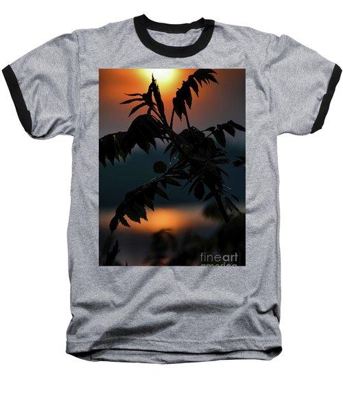 Sumac Sunrise Silhouette Baseball T-Shirt by Henry Kowalski