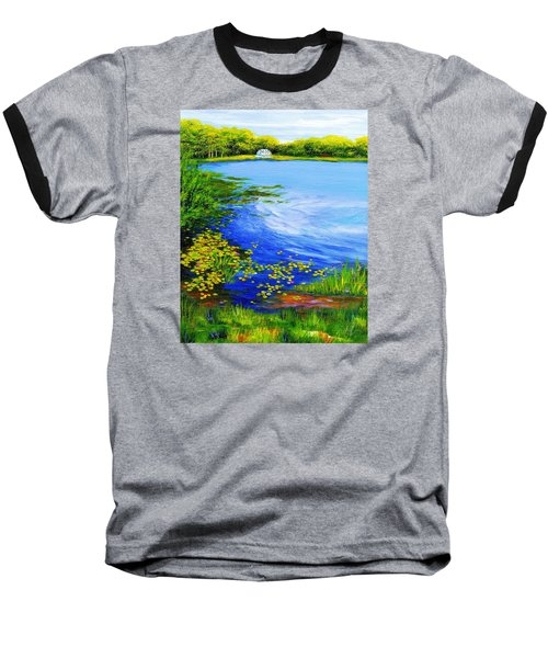 Summer At The Lake Baseball T-Shirt by Anne Marie Brown