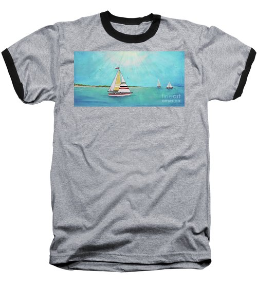Baseball T-Shirt featuring the painting Summer Breeze-b by Jean Plout