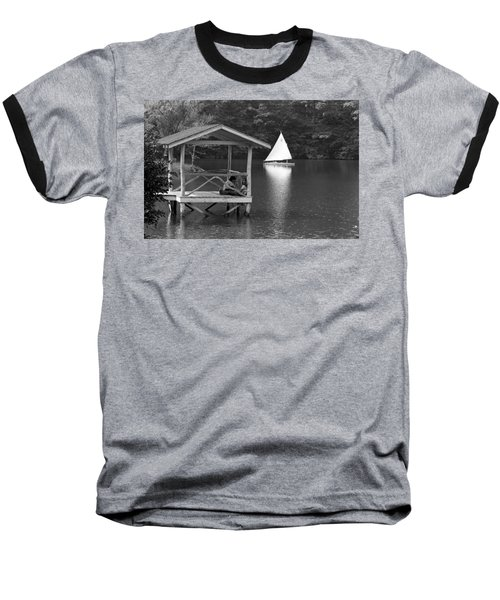 Summer Camp Black And White 1 Baseball T-Shirt by Michael Fryd