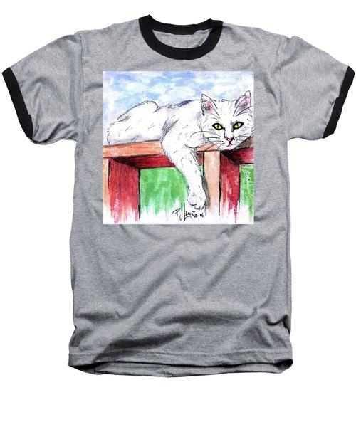 Summer Cat Baseball T-Shirt by P J Lewis