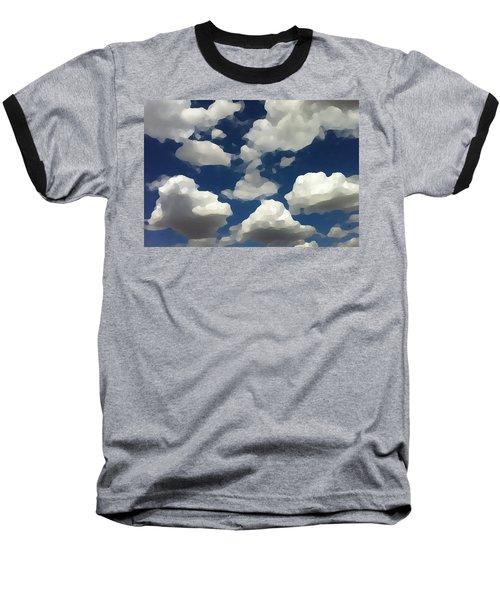 Baseball T-Shirt featuring the digital art Summer Clouds In A Blue Sky by Shelli Fitzpatrick