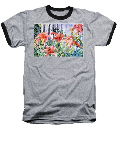 My Summer Day Liliies Baseball T-Shirt by Mindy Newman