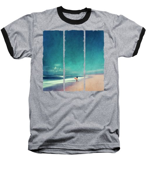 Summer Days - Abstract Seascape With Surfer Baseball T-Shirt