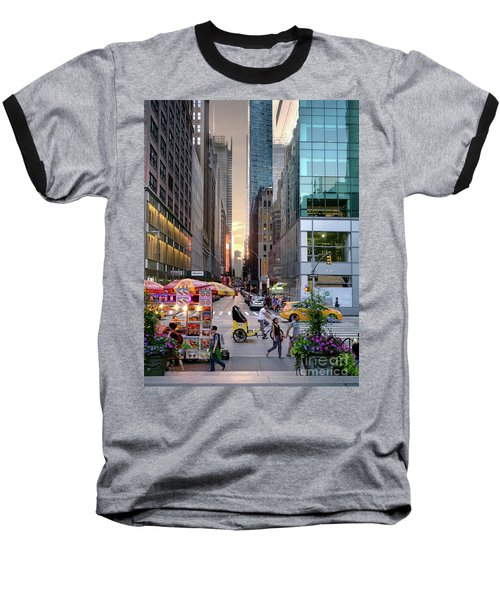 Summer Evening, New York City  -17705-17711 Baseball T-Shirt by John Bald