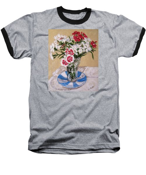 Baseball T-Shirt featuring the painting Summer Flowers by Laura Aceto