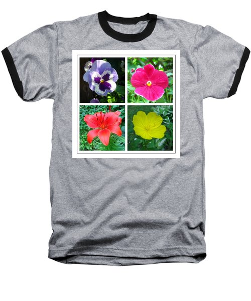Summer Flowers Window Baseball T-Shirt by Maciek Froncisz