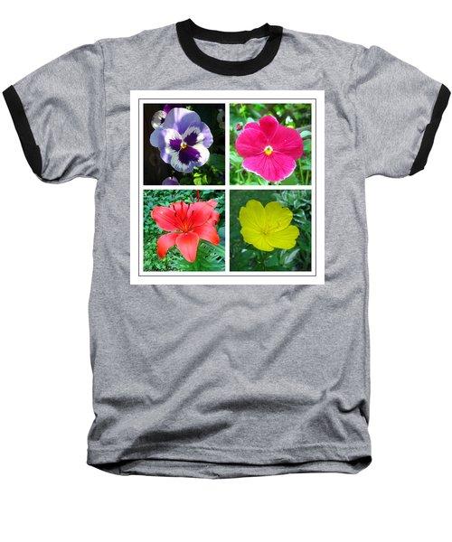 Summer Flowers Window Baseball T-Shirt