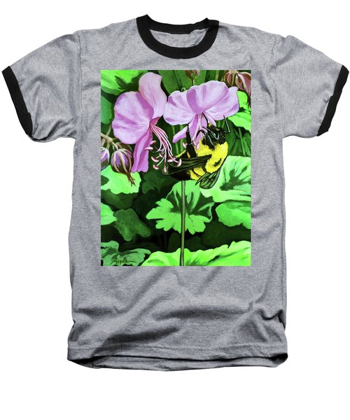Baseball T-Shirt featuring the painting Summer Garden Bumblebee And Flowers Nature Painting by Linda Apple