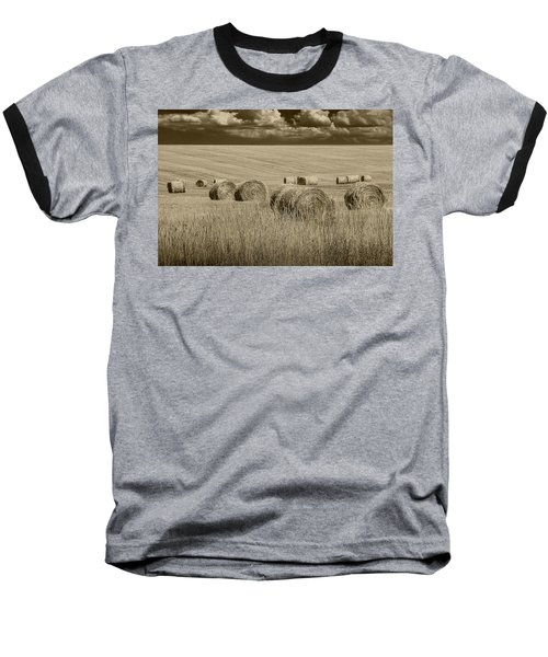 Summer Harvest Field With Hay Bales In Sepia Baseball T-Shirt