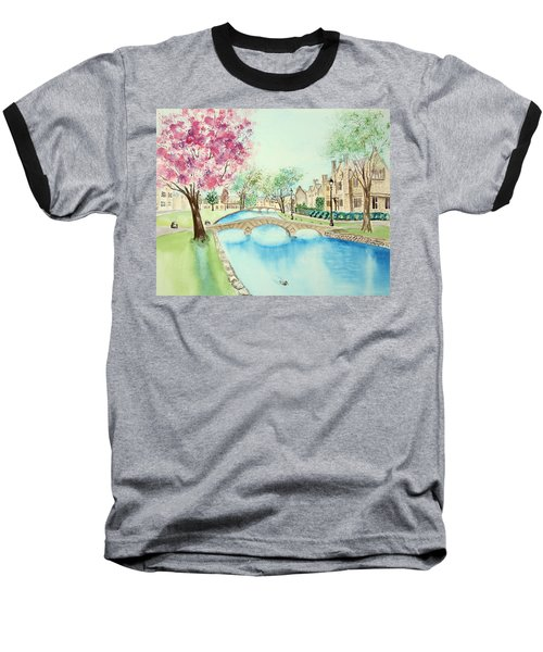 Baseball T-Shirt featuring the painting Summer In Bourton by Elizabeth Lock