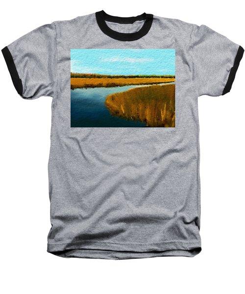 Baseball T-Shirt featuring the digital art Summer Marsh South Carolina Lowcountry by Anthony Fishburne