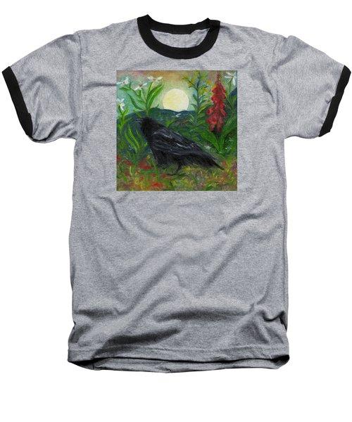 Summer Moon Raven Baseball T-Shirt by FT McKinstry