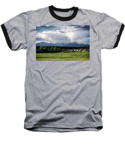 Summer Mountain Paradise Baseball T-Shirt by Jason Coward