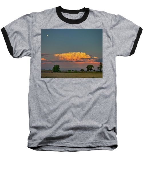 Baseball T-Shirt featuring the photograph Summer Night Storms Brewing And Moon Above by James BO Insogna
