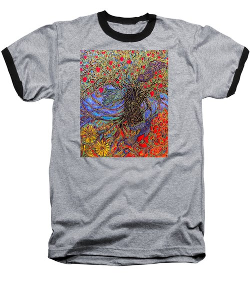 Baseball T-Shirt featuring the painting Enchanted Garden by Rae Chichilnitsky