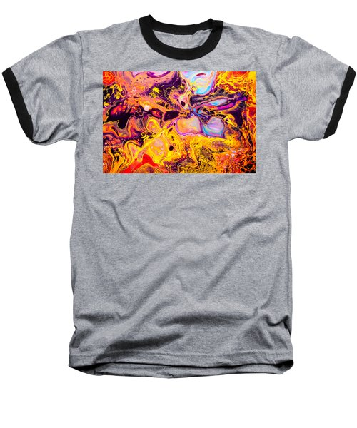 Summer Play  - Abstract Colorful Mixed Media Painting Baseball T-Shirt