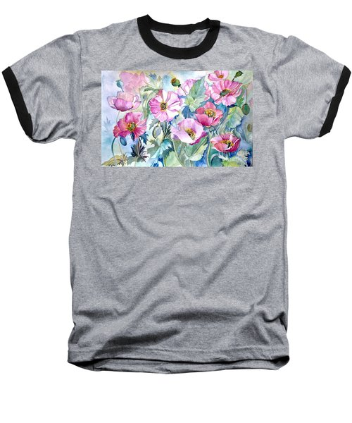 Baseball T-Shirt featuring the painting Summer Poppies by Iya Carson