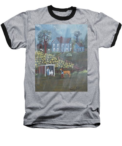 Baseball T-Shirt featuring the painting Summer Rain by Virginia Coyle