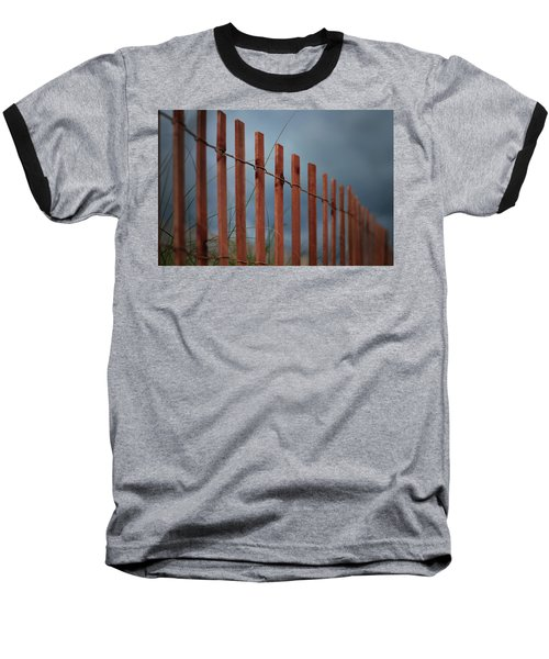 Baseball T-Shirt featuring the photograph Summer Storm Beach Fence by Laura Fasulo