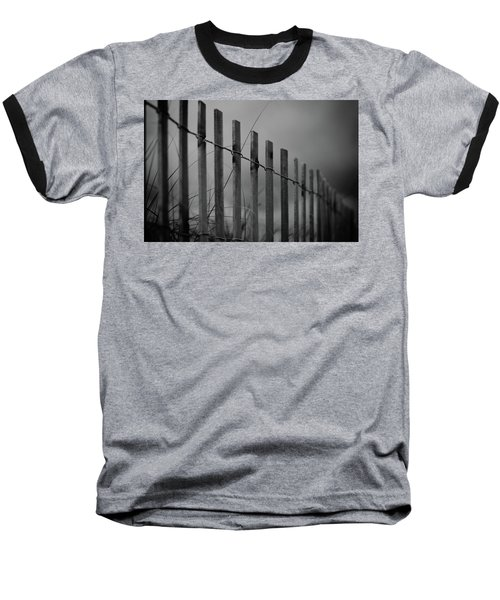 Baseball T-Shirt featuring the photograph Summer Storm Beach Fence Mono by Laura Fasulo