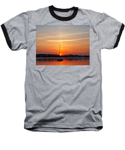 Summer Sunset At Anchor Baseball T-Shirt