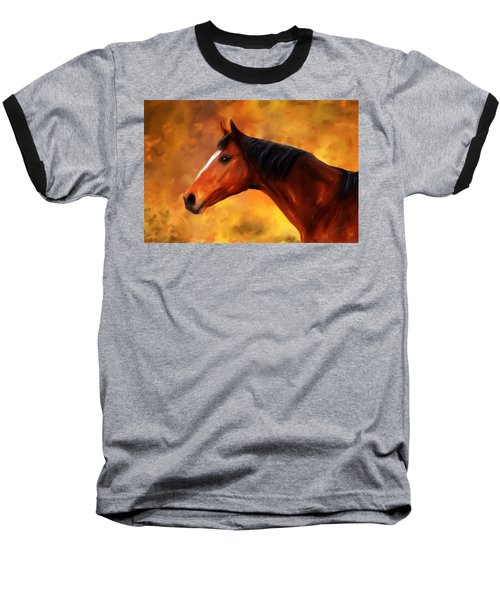 Summers End Quarter Horse Painting Baseball T-Shirt
