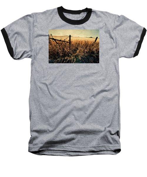 Summertime Country Fence Baseball T-Shirt by Steve Siri