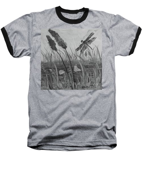 Baseball T-Shirt featuring the painting Summertime Dragonfly Black And White by Robin Maria Pedrero