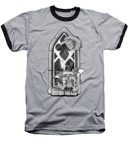 Baseball T-Shirt featuring the painting Summoned Pet - Black And White Fantasy Art by Raphael Lopez