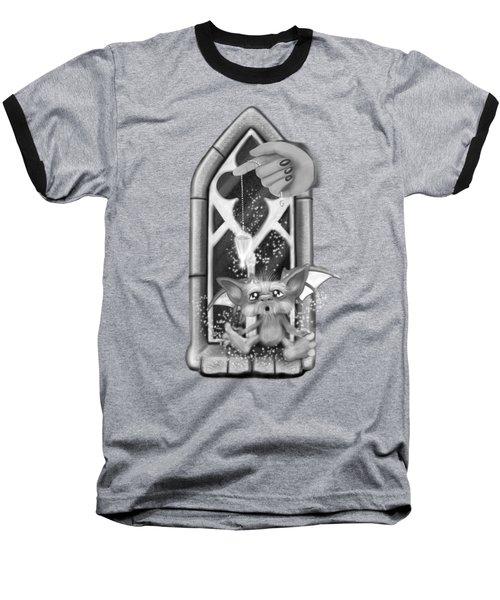 Summoned Pet - Black And White Fantasy Art Baseball T-Shirt