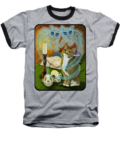 Baseball T-Shirt featuring the painting Summoning Old Friends - Ghost Cats Magic by Carrie Hawks