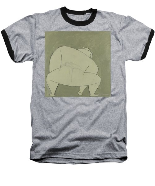 Baseball T-Shirt featuring the painting Sumo Wrestler by Ben Gertsberg