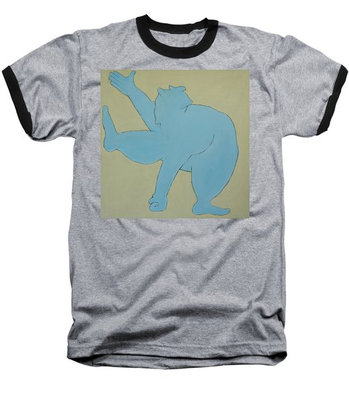 Baseball T-Shirt featuring the painting Sumo Wrestler In Blue by Ben Gertsberg