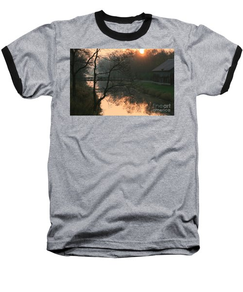 Baseball T-Shirt featuring the photograph Sun Above The Trees by Paula Guttilla