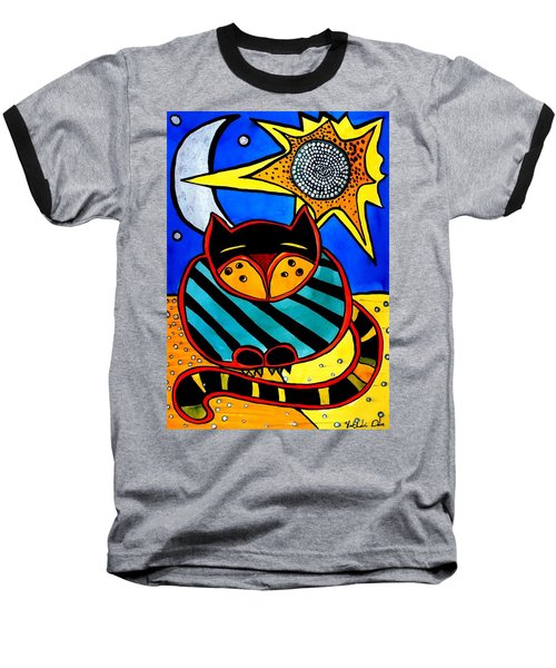 Sun And Moon - Honourable Cat - Art By Dora Hathazi Mendes Baseball T-Shirt by Dora Hathazi Mendes
