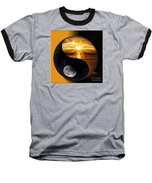 Sun And Moon - Yin And Yang Baseball T-Shirt by Shirley Mangini