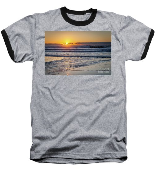 Sun Behind Clouds With Beach And Waves In The Foreground Baseball T-Shirt