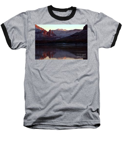 Baseball T-Shirt featuring the photograph Sun Down At Fisher Towers by Adam Jewell