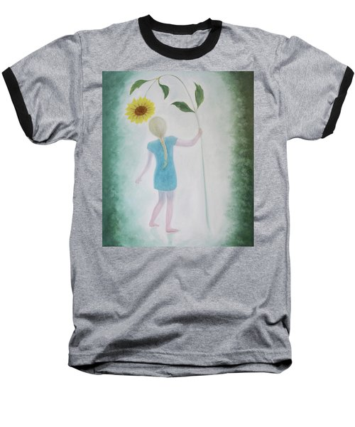 Baseball T-Shirt featuring the painting Sun Flower Dance by Tone Aanderaa