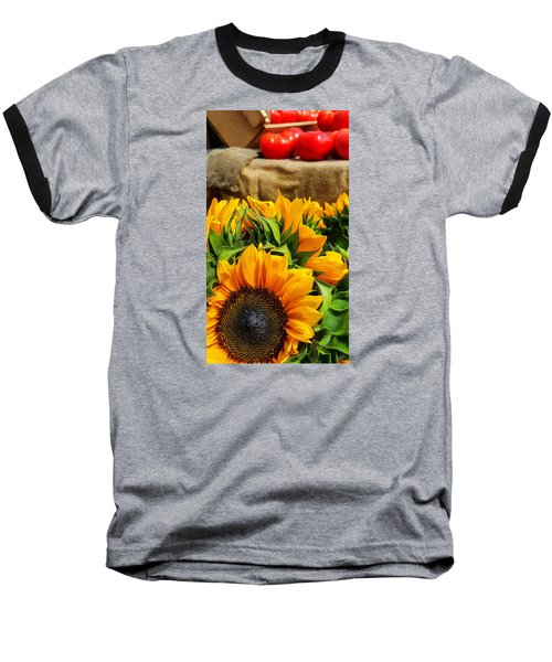 Sun Flowers And Tomatoes Baseball T-Shirt by Bruce Carpenter