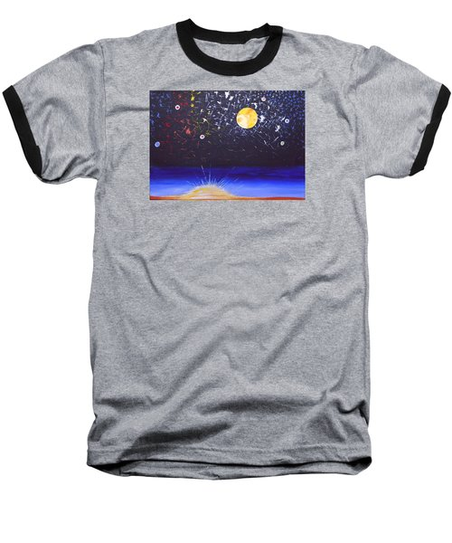 Sun Moon And Stars Baseball T-Shirt by Donna Blossom