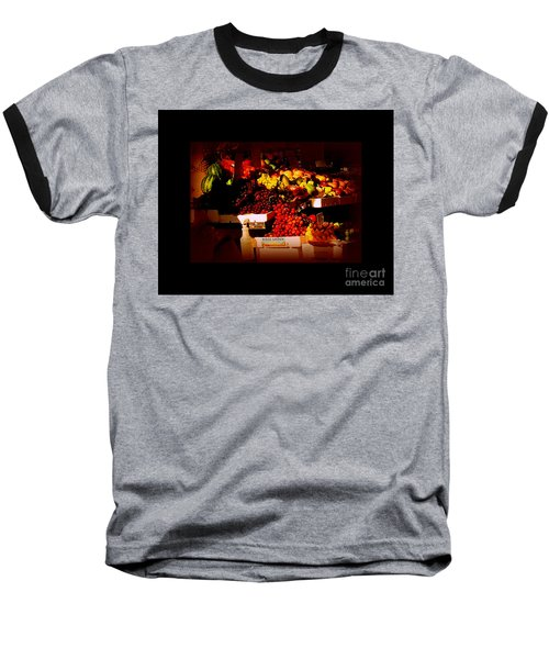 Sun On Fruit - Markets And Street Vendors Of New York City Baseball T-Shirt by Miriam Danar