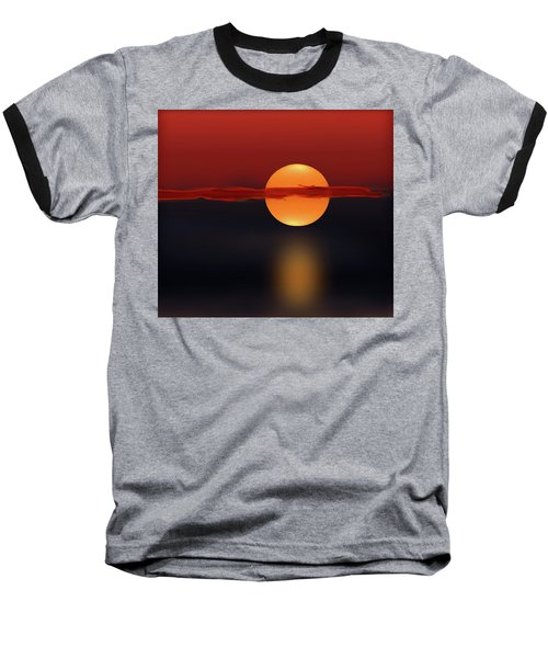 Sun On Red And Blue Baseball T-Shirt by Deborah Smith
