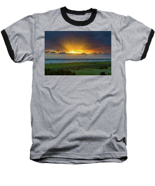 Sun Rays At Long Beach Washington During Sunset Baseball T-Shirt