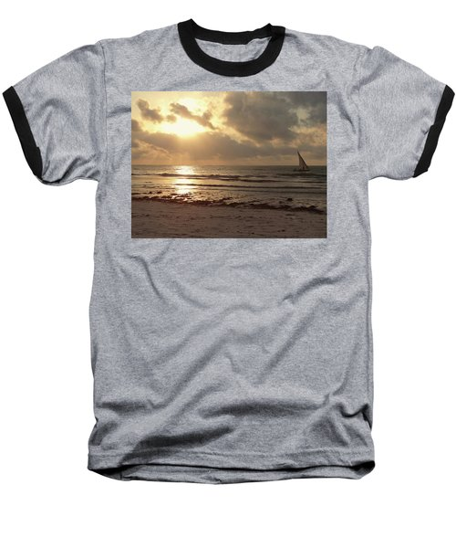 Sun Rays On The Water With Wooden Dhow Baseball T-Shirt