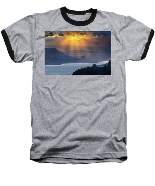 Sun Rays Over Columbia River Gorge During Sunrise Baseball T-Shirt