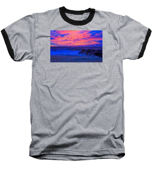 Sun Rays Painted Sky Baseball T-Shirt by Allan Levin