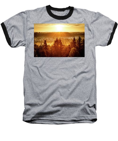 Sun Rising At Swamp Baseball T-Shirt